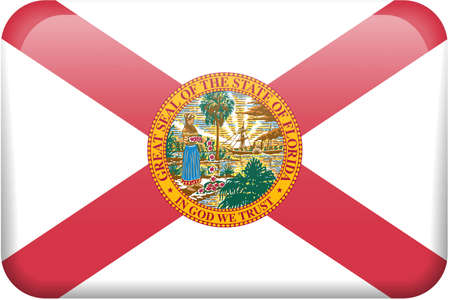 Florida flag rectangular button.  Part of set of US State flags all in 2:3 proportion with accurate design and colors. photo