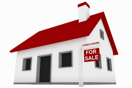 Detailed rendering of a small house with a for sale and  Stock Photo