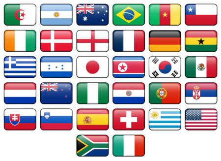 Wereld beker 2010 rechthoekige knoppen.  Vlaggen van alle 32 deelnemende landen. Stockfoto
