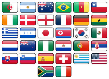 button: World Cup 2010 rectangular buttons.  Flags from all 32 participating countries. Stock Photo