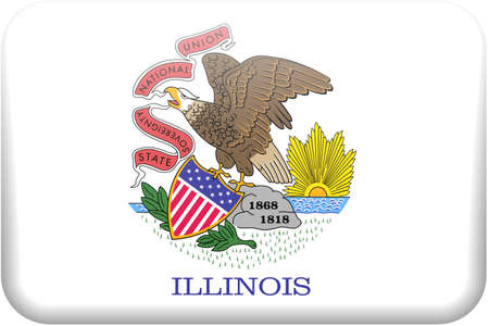 Illinois flag rectangular button.  Part of set of US State flags all in 2:3 proportion with accurate design and colors.