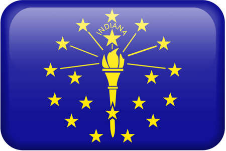 Indiana flag rectangular button.  Part of set of US State flags all in 2:3 proportion with accurate design and colors. photo
