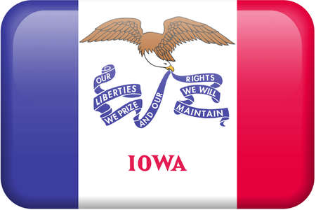Iowa flag rectangular button.  Part of set of US State flags all in 2:3 proportion with accurate design and colors. photo