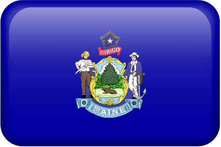 maine: Maine flag rectangular button.  Part of set of US State flags all in 2:3 proportion with accurate design and colors.