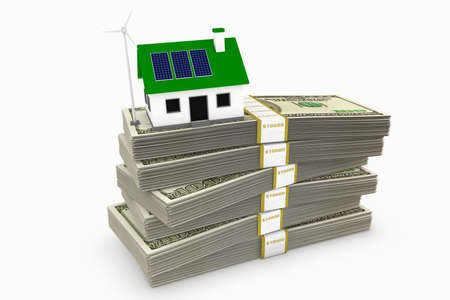 panel: Green energy conceptual rendering of a house with a wind turbine and solar panels on a stack of hundred dollar bills.