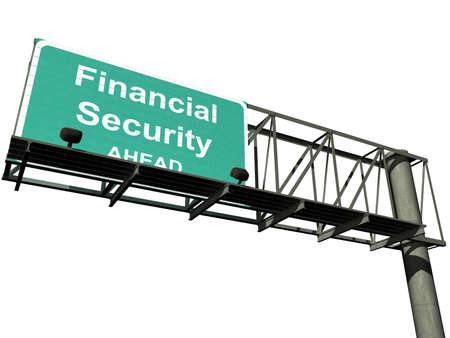"Overhead highway sign with the words "",financial security"","