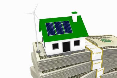 グリーン エネルギーの 100 ドル札のスタック上のソーラー パネルと風力タービン家の概念的なレンダリング。 写真素材