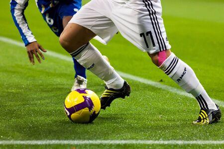 마드리드 - JAN. 25, 2009 : 데포르티보 라 코 루나와의 스페인 첫 부문 리그 경기 도중 레알 마드리드의 아르옌 로벤. 에디토리얼
