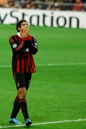 MADRID - OCT. 21, 2009: AC Milan's Brazilian striker Alexandre Pato ponders a missed opportunity during Milan's 3-2 victory over Real Madrid in Champions League group stage action.