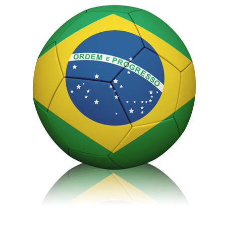 Detailed rendering of the Brazilian flag painted/projected onto a football (soccer ball).  Realistic leather texture with stitching.   Banque d'images