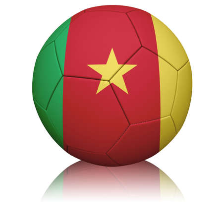 cameroonian: Detailed rendering of the Cameroonian flag paintedprojected onto a football (soccer ball).  Realistic leather texture with stitching.