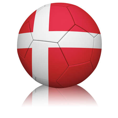 Detailed rendering of the Danish flag paintedprojected onto a football (soccer ball).  Realistic leather texture with stitching.