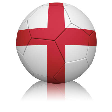 Detailed rendering of the English flag painted/projected onto a football (soccer ball).  Realistic leather texture with stitching.