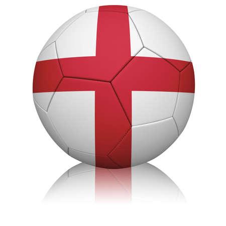 Gedetailleerde weergave van de Engelse vlag geschilderd  geprojecteerd op een voetbal (voetbal). Realistische leertextuur met het stikken.