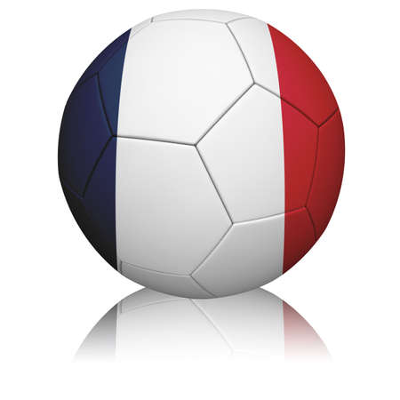 Detailed rendering of the French flag paintedprojected onto a football (soccer ball).  Realistic leather texture with stitching.   photo