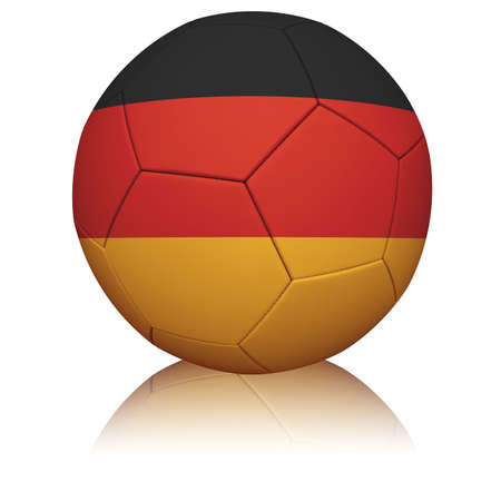 Detailed rendering of the German flag painted/projected onto a football (soccer ball).  Realistic leather texture with stitching.  Banque d'images