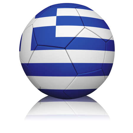 Detailed rendering of the Greek flag paintedprojected onto a football (soccer ball).  Realistic leather texture with stitching.