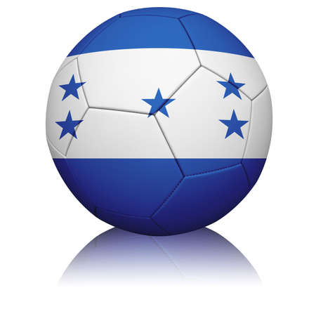 Detailed rendering of the Honduran flag paintedprojected onto a football (soccer ball).  Realistic leather texture with stitching.   photo