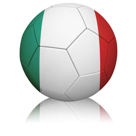 Detailed rendering of the Italian flag paintedprojected onto a football (soccer ball).  Realistic leather texture with stitching.  Stok Fotoğraf
