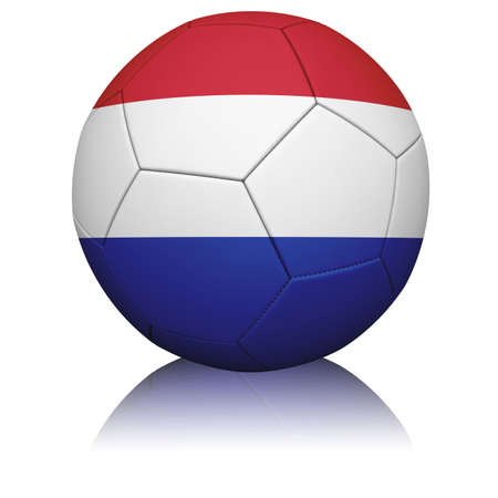 Detailed rendering of the Dutch flag paintedprojected onto a football (soccer ball).  Realistic leather texture with stitching.