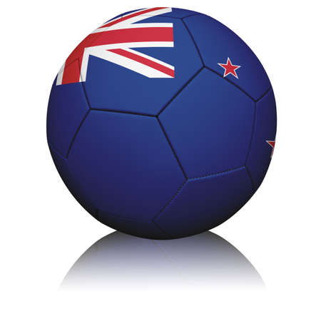 Detailed rendering of the New Zealand flag paintedprojected onto a football (soccer ball).  Realistic leather texture with stitching.  photo