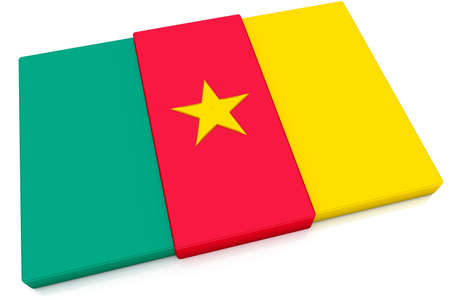 cameroonian: Three dimensional Cameroonian flag button.  Part of set of country flags all in 2:3 proportion with accurate design and colors.