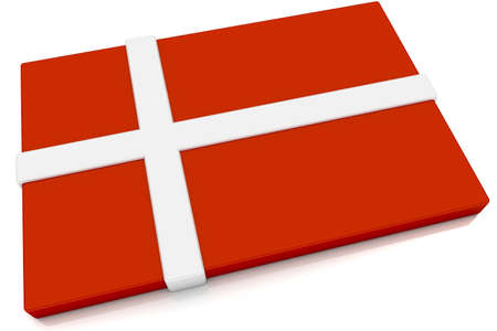 danish: Three dimensional Danish flag button.  Part of set of country flags all in 2:3 proportion with accurate design and colors. Stock Photo