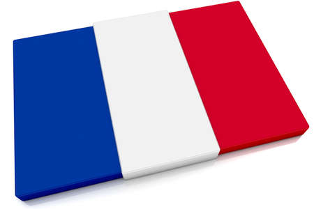 Three dimensional French flag button.  Part of set of country flags all in 2:3 proportion with accurate design and colors. photo