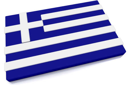 Three dimensional Greek flag button.  Part of set of country flags all in 2:3 proportion with accurate design and colors. photo