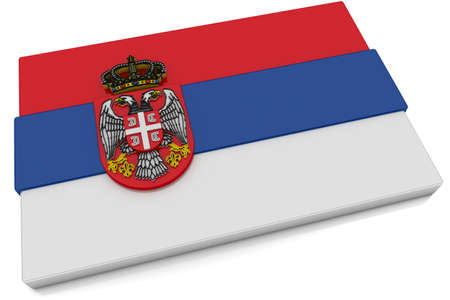 Three dimensional Serbian flag button.  Part of set of country flags all in 2:3 proportion with accurate design and colors. Stock Photo