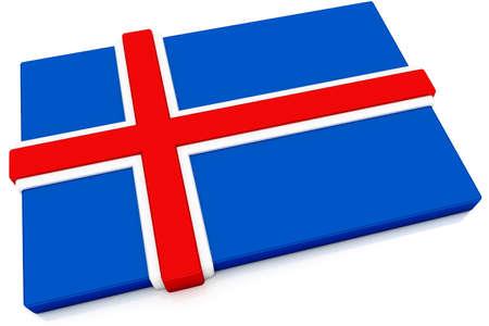 icelandic flag: Bot�n de tres dimensiones bandera de Islandia.  Parte del conjunto de indicadores de pa�s todos en proporci�n de 2: 3 con precisi�n de dise�o y colores.