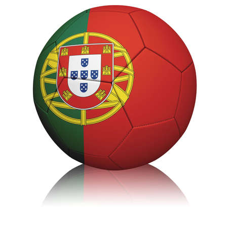 Detailed rendering of the Portuguese flag paintedprojected onto a football (soccer ball).  Realistic leather texture with stitching.