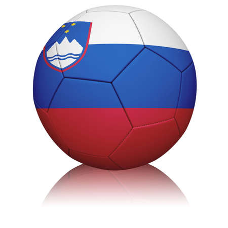 Detailed rendering of the Slovenian flag painted/projected onto a football (soccer ball).  Realistic leather texture with stitching.