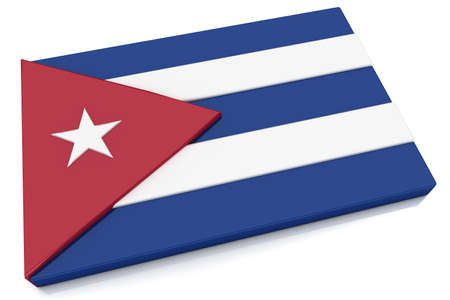 cuban flag: Three dimensional Cuban flag button.  Part of set of country flags all in 2:3 proportion with accurate design and colors. Stock Photo