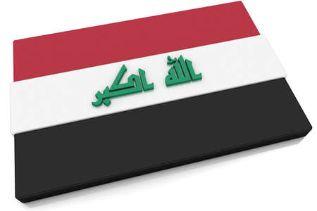 Three dimensional Iraqi flag button.  Part of set of country flags all in 2:3 proportion with accurate design and colors. photo