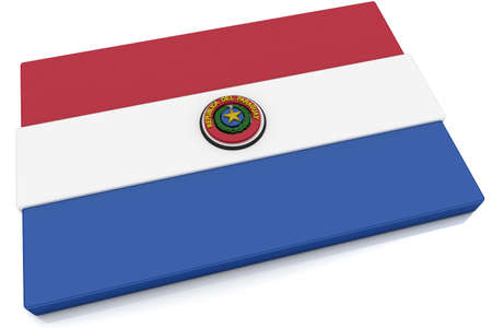 Three dimensional Paraguayan flag button.  Part of set of country flags all in 2:3 proportion with accurate design and colors. Stock Photo