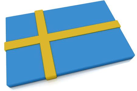 swedish: Three dimensional Swedish flag button.