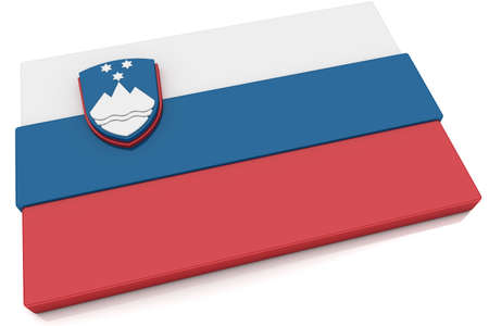 Three dimensional Slovenian flag button.  Imagens