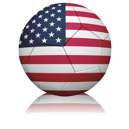 Gedetailleerde weergave van de Amerikaanse vlag geschilderdgeprojecteerd op een voet bal (voet bal).  Stockfoto