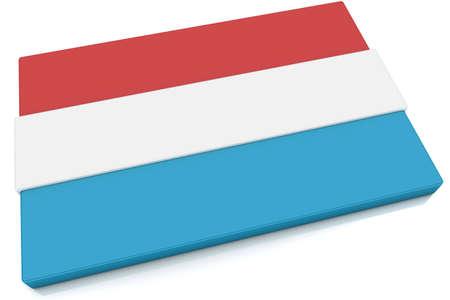 Drie dimensionale Luxemburg vlag knop.  Stockfoto