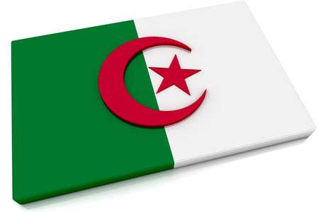 Three dimensional Algerian flag button. photo