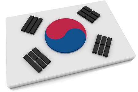 Three dimensional South Korean flag button.   photo