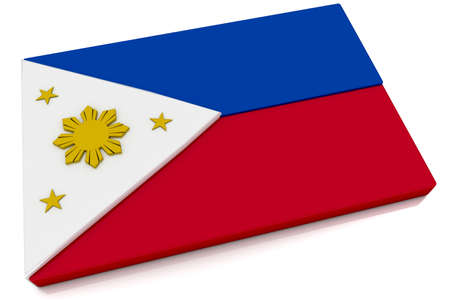 Three dimensional Philippine flag button.  photo