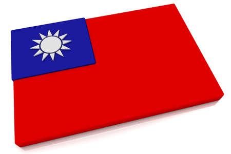 taiwanese: Three dimensional Taiwanese flag button.