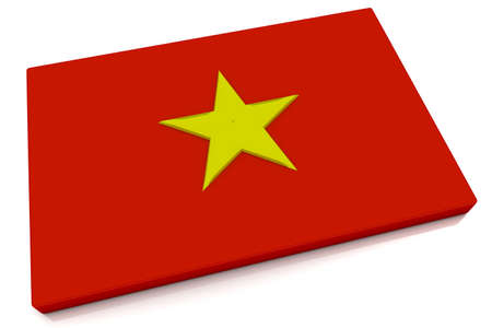 Three dimensional Vietnamese flag button.  photo
