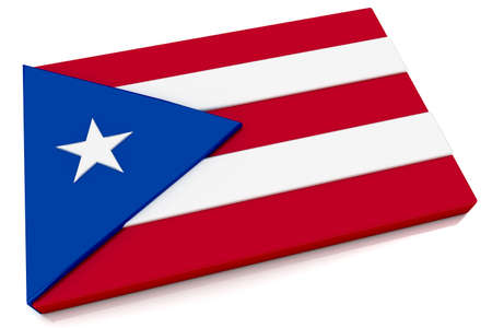 rican: Three dimensional Puerto Rican flag button.  Stock Photo