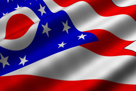 Detailed 3d rendering closeup of the flag of the US State of Ohio.  Flag has a detailed realistic fabric texture.