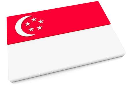 singaporean flag: Three dimensional Singaporean flag button.  Part of set of country flags all in 2:3 proportion with accurate design and colors.