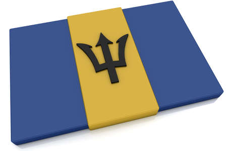 barbadian: Three dimensional Barbadian flag button.  Part of set of country flags all in 2:3 proportion with accurate design and colors.