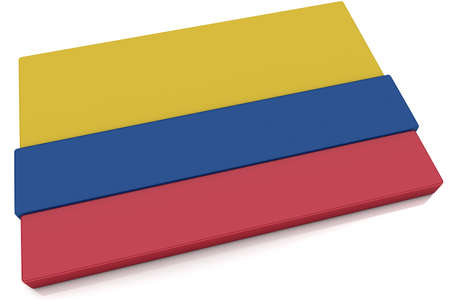 Three dimensional Colombian flag button.  Part of set of country flags all in 2:3 proportion with accurate design and colors.